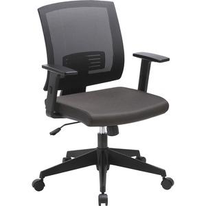 Lorell Soho Mid-back Task Chair - Black Fabric Seat - Black Back - Mid Back - 5-star Base - Armrest - 1 Each