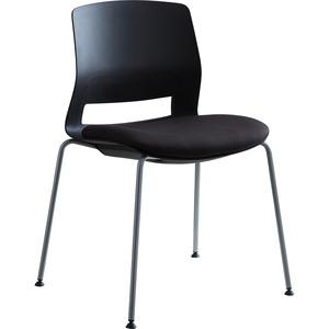 Lorell Arctic Series Stack Chairs - Black Foam, Fabric Seat - Black Back - Four-legged Base - 2 / Carton