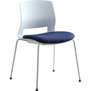 Lorell Arctic Series Stack Chairs - Blue Foam, Fabric Seat - White Back - Four-legged Base - 2 / Carton