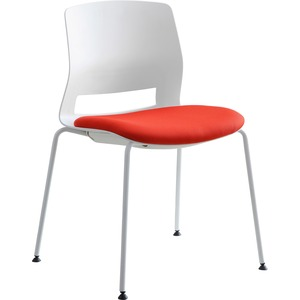 Lorell Arctic Series Stack Chairs - Red Foam, Fabric Seat - White Back - Four-legged Base - 2 / Carton