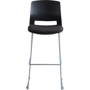 Lorell Arctic Series Bar Stool - Black Fabric, Foam Seat - Black Back - 2 Carton