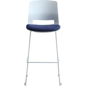 Lorell Arctic Series Bar Stool - Blue Fabric, Foam Seat - White Back - 2 / Carton