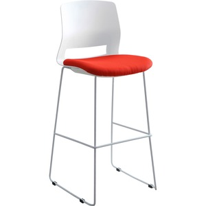Lorell Arctic Series Bar Stool - Red Fabric, Foam Seat - White Back - 2 Carton