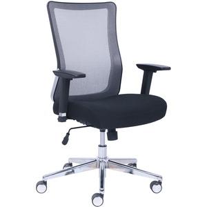 Lorell Mesh Back Rolling Chair - Black Fabric Seat - Gray Back - 5-star Base - 1 Each