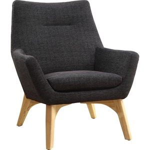 Lorell Quintessence Collection Upholstered Chair - Black Seat - Black Back - Low Back - Four-legged Base - 1 Each