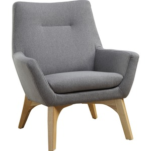 Lorell Quintessence Collection Upholstered Chair - Gray Seat - Gray Back - Low Back - Four-legged Base - 1 Each