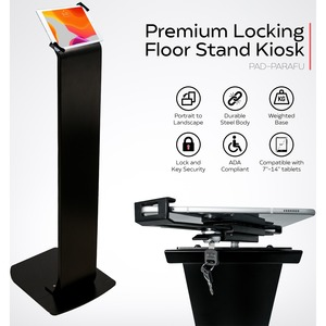 CTA Digital Premium Locking Floor Stand Kiosk (Universal) - Up to 14inScreen Support - 50