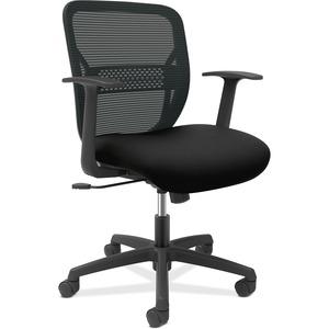 HON Gateway Fixed Arms Task Chair - Black Seat - Black Back - Black Frame - Mid Back - 1 Each