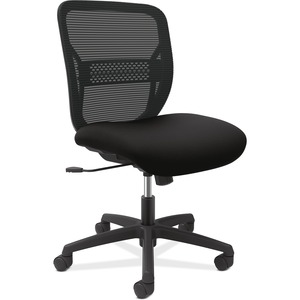 HON Gateway Armless Mid-back Task Chair - Black Seat - Black Back - Black Frame - Mid Back - 1 Each