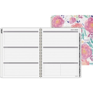 At-A-Glance In Bloom Academic Large Planner - Large Size - Academic - Yes - Weekly, Monthly - 1 Year - July till June - 1 Week Double Page Layout - Floral - Floral - Tabbed, Unruled Daily Block, Holiday Listing, Reference Calendar, Notes Area, Storage Poc