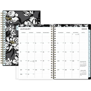 Blue Sky Baccara Dark Weekly/Monthly Planner - Yes - Weekly, Monthly - 1 Year - January till December - 1 Month, 1 Week Double Page Layout - 5