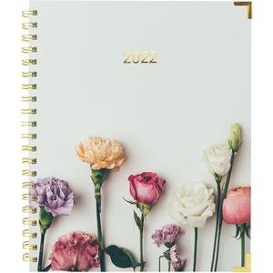 Rediform Romantic Flowers Weekly/Monthly Planner - Yes - Weekly, Monthly - 1 Year - January till December - 1 Week, 1 Month Double Page Layout - Twin Wire - Floral - Fiber - Laminated Tab, Storage Pocket, Holiday Listing, Reference Calendar, Event Plannin