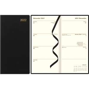 Rediform Letts Weekly/Monthly Executive Pocket Planner - Yes - Weekly, Monthly - 1 Year - January till December - 1 Week Double Page Layout - Black - Leather - Reference Calendar, Holiday Listing