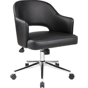 Boss Black Vinyl Task Chair - Black Vinyl Seat - Black Vinyl Back - Chrome Frame - 5-star Base - 1 Each