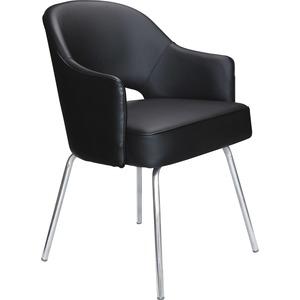 Boss Black Vinyl Guest Chair - Black Vinyl Seat - Black Vinyl Back - Chrome Frame - Four-legged Base - 1 Each