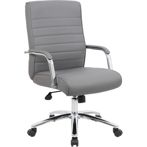 Boss Modern Executive Conference Chair-Ribbed Grey - Vinyl Seat - Vinyl Back - Chrome Frame - 5-star Base - Ribbed Gray - Yes - 1 Each