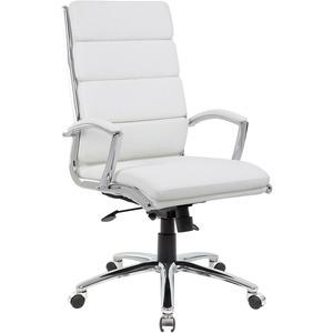 Boss Executive CaressoftPlus? Chair with Metal Chrome Finish - White Vinyl Seat - White Vinyl Back - Chrome Frame - High Back - 5-star Base - Yes - 1 Each