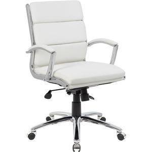 Boss CaressoftPlus? Executive Mid-Back Chair - White Vinyl Seat - White Vinyl Back - Chrome Frame - Mid Back - 5-star Base - Yes - 1 Each