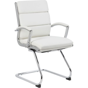 Boss Executive CaressoftPlus Chair with Metal Chrome Finish - Guest Chair - White Vinyl Seat - White Vinyl Back - Chrome Frame - Mid Back - Cantilever Base - 1 Each
