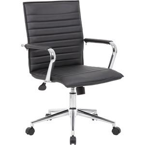 Boss Black Vinyl Hospitality Chair - Black Vinyl Seat - Black Vinyl Back - Chrome Frame - 5-star Base - Yes - 1 Each