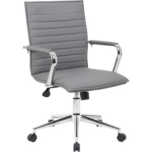 Boss Grey Vinyl Hospitality Chair - Gray Vinyl Seat - Gray Vinyl Back - Chrome Frame - 5-star Base - Yes - 1 Each
