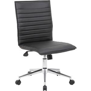 Boss Black Vinyl Armless Hospitality Chair - Black Vinyl Seat - Black Vinyl Back - Chrome Frame - 5-star Base - 1 Each