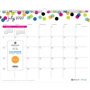 Blue Sky Ampersand Dots Wall Calendar - Yes - Monthly - 1 Year - July till June - Twin Wire - Wall Mountable - Multi - Hook & Loop Closure, Bleed Resistant Paper, Notes Area, Appointment Schedule, Reminder Section