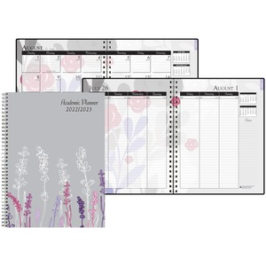 House of Doolittle Academic Wild Flower Weekly/Monthly Planner - Academic - Yes - Monthly, Weekly - 1 Year - August till July - 1 Week, 1 Month Double Page Layout - Spiral Bound - Leatherette, Paper - Notes Area, Ruled Daily Block, Holiday Listing, Refere