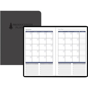 House of Doolittle Non-dated Productivity Planner - Monthly, Weekly - 1 Year - 1 Month, 1 Day, 1 Week Double Page Layout - Blue - Gray - Suede - Gray - Embossed, Pocket, Daily Schedule, Task List, To-do List, Ribbon Marker, Mindmap Page
