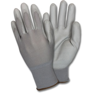 Safety Zone Poly Coated Knit Gloves - Polyurethane Coating - Medium Size - Nylon - Gray - Knitted, Flexible, Comfortable, Breathable - For Industrial - 12 / Dozen
