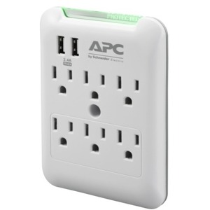 APC ESSENTIAL SURGEARREST 6 OUTLET WALL TAP WITH 5V 2.4A 2 PORT USB CHARGER 12
