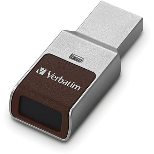 128GB Fingerprint Secure USB 3.0 Flash Drive with AES 256 Hardware Encryption - Silver - 1
