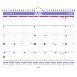 At-A-Glance Academic Monthly Wall Calendar - Medium Size - Academic/Professional - Monthly - 1 Year - July 2020 till June 2021 - 1 Month Single Page Layout - 15
