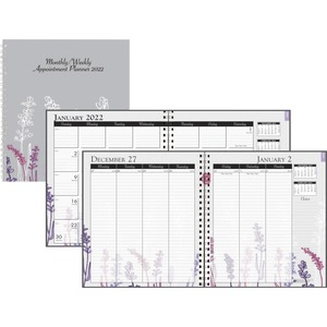 House of Doolittle Wild Flower Weekly/Monthly Planner - Julian Dates - Monthly, Weekly - 1 Year - January till December - 1 Week, 1 Month Double Page Layout - Spiral Bound - Multi - Paper - 11