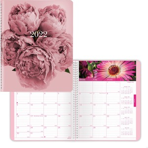 Rediform Pink Floral Monthly Planner - Monthly - 1.2 Year - December till January - Twin Wire - Pink - Ruled Daily Block, Reminder Section, Notes Area, Reference Calendar - 1 Each