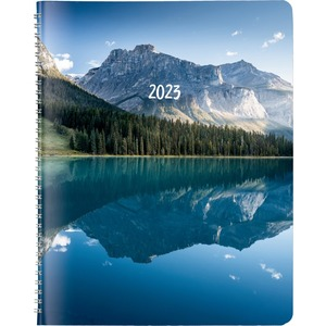 Rediform Monthly Planner - Monthly - 1.2 Year - December till January - Twin Wire - Nature's Hues - Ruled Daily Block, Reminder Section, Notes Area, Six Month Reference - 1 Each