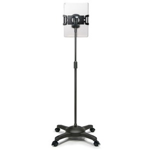 Aidata Universal Tablet Mobile Stand with Locking Casters, Black