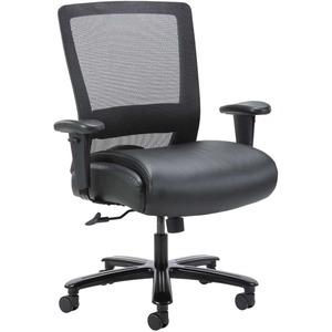Lorell Heavy-duty Mesh Task Chair - Black Leather, Polyurethane Seat - Black - Yes - 1 Each