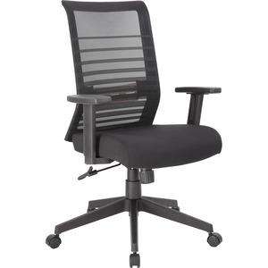 Lorell Horizontal Mesh Back Task Chair - Fabric Seat - Black - Yes - 1 Each