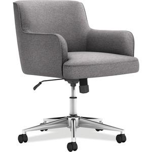 HON Matter Multipurpose Chair - 5-star Base - Chrome, Light Gray - Fabric - 1 Each