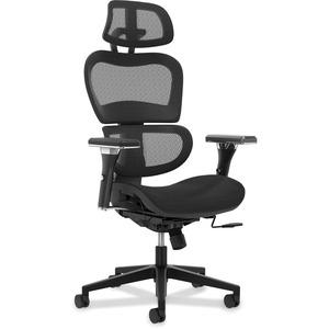 HON Neutralize Mesh Task Chair - Black Mesh Back - Black, Chrome - Yes - 1 Each