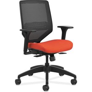 HON Solve Task Chair - Knit Mesh Back - Bittersweet Fabric Seat - Black Back - Black Frame - Mid Back - Yes - 1 Each