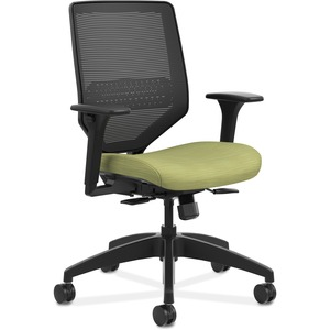 HON Solve Task Chair - Knit Mesh Back - Meadow Fabric Seat - Black Back - Black Frame - Mid Back - Green - Yes - 1 Each