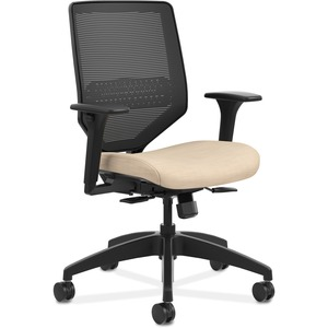 HON Solve Task Chair - Knit Mesh Back - Putty Fabric Seat - Black Back - Black Frame - Mid Back - Yes - 1 Each