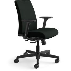 HON Ignition Low-Back Task Chair - Black Frame - Low Back - Black - Polyurethane, Vinyl - Yes - 1 Each