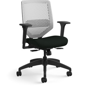HON Solve Task Chair - ReActiv Back - Black Fabric Seat - Titanium Back - Black Frame - Mid Back - Yes - 1 Each