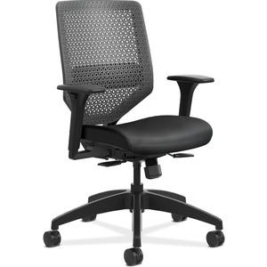 HON Solve Task Chair - ReActiv Back - Black Fabric Seat - Charcoal Back - Black Frame - Mid Back - Yes - 1 Each