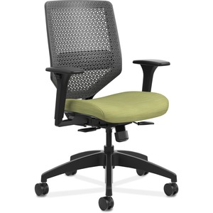 HON Solve Task Chair - ReActiv Back - Meadow Fabric Seat - Charcoal Back - Black Frame - Green - Yes - 1 Each