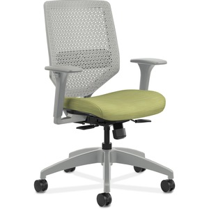 HON Solve Task Chair - ReActiv Back - Meadow Fabric Seat - Titanium Back - Black Frame - Mid Back - Green - Yes - 1 Each