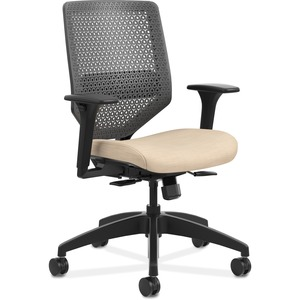 HON Solve Task Chair - ReActiv Back - Putty Fabric Seat - Charcoal Back - Black Frame - Mid Back - Yes - 1 Each